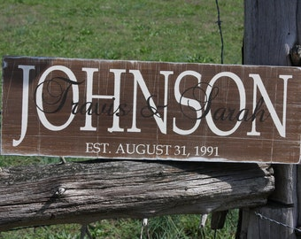 Family established sign, personalized name plaque