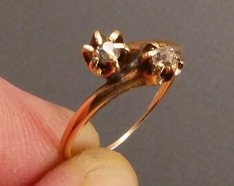 14K By Pass rose diamond ring size 5.5