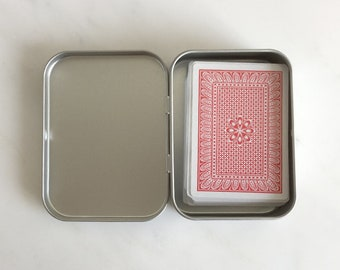 Playing Card Box, Poker Card Box, Rectangular Metal Tins, Blank Hinged Tins, Color Silver 150ml Tin Box, Organising Box, Set Of 12 Boxes