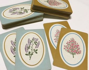 Vintage Playing Cards Floral Wildflowers Purple Flowers Junk Journal Swap Card