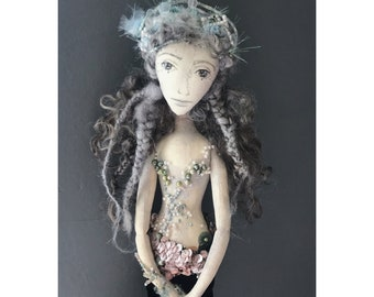 RESERVED ANAITIS Collectible Handmade Fabric Art Doll OOAK Textile Soft Sculpture Mermaid