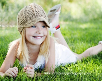The Darling, newsboy hat, visor beanie, brimmed beanie, 5-10 years, preteen, crochet by allie