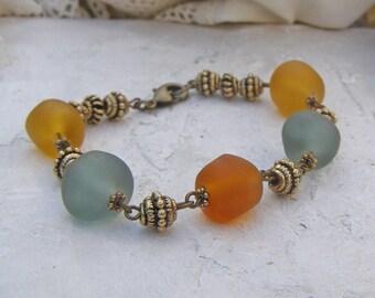 Rustic Boho Bracelet, Lampwork Bead Bracelet, Southwestern Bracelet, Faux Beach Glass, Orange Bracelet, Rustic Chic jewelry, Sunset