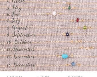 Dainty Birthstone Necklace / Simple Birthstone Necklace / Delicate Birthstone Necklace / Precious/SemiPrecious Gems / Layering Necklace