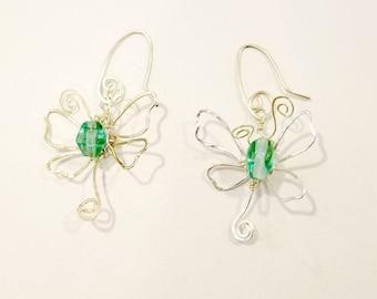Fairytale Wire Dragonfly Earrings in Sea Green #903
