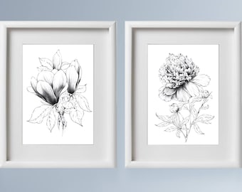 Set of 2 Botanical Art Sketch, peony flower artwork, magnolia pen line drawing, printable decor, female T-shirt Prints, gift , black white