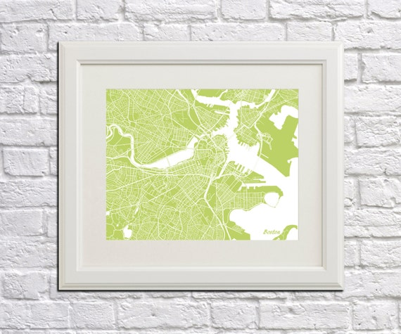 Boston Street Map Print Map of Boston City Street Map