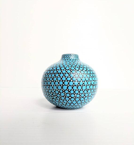 Bud vase hand painted ceramic bud vase black and blue dots