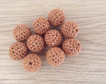 Beads crochet Brown 18 mm x 10