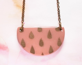 Geometric Semi Circle Necklace, Coral & Gold Raindrops on Polymer Clay | Resin Glaze with an Antique Gold Chain | Handmade