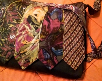 """Upcycled Tie Magnetic Closure Large Purse Diaper Bag - """"Plum"""""""