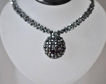 Swarovski crystal necklace hematite 2x