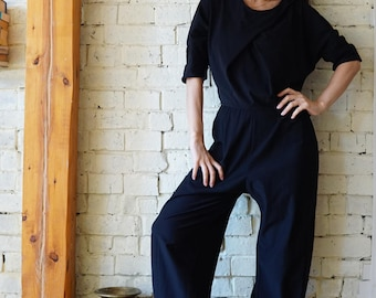 Casual Jumpsuit, Womens Overalls, Black Women Zipper Jumpsuit, Black Lycra Jumpsuit, Pleated Jumpsuit, Plus Size Jumpsuit, Cotton Union Suit