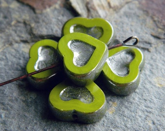 Lime green heart beads, Picasso Table Cut heart beads, Czech glass heart beads, 14x12mm, Lime green & antique silver finish  (6pcs) NEW