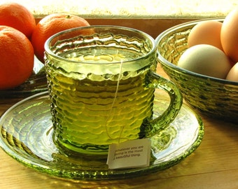 Vintage Anchor Hocking Green Glass Pressed Bark Instant Collection Saucers Coffee Cup Bowl