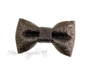 Black Glitter Bows 3 inch- Glitter Hair Bow, Glitter Bows, Glitter Bow Headband, Glitter Bowtie, Glitter Hair Clip, Tuxedo Bow, Glitter Bow