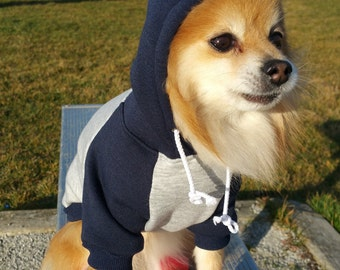 Gray Navy Fleece dog hoodie, HANDMADE dog clothes, XS~4XL, pet clothes, small dogs clothes, winter clothes,puppy hoodie,dog hoodies, sweater
