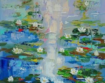 My lovely waterlilies; Original palette knife oil painting on canvas; waterlilies oil painting