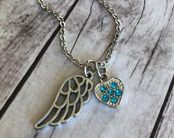 Memorial Jewelry - Sympathy Gift - In Memory of Gifts - Remembrance Necklace - Grief - Angel Wing - Personalized Birthstone - Heart Charm