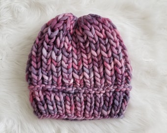 Madison Hat - Super chunky slouchy beanie hat, adult teen chunky hat, bulky hat