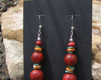 Apple Coral, Orange Spiny Oyster Shell, Turquoise Dangle Earrings #E50 by Donavan Yazzie