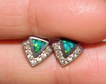 Sterling Silver 925 Earrings Shell Inlay with CZ