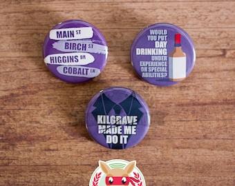 Jessica Jones inspired buttons - pinback or magnets ||| The Defenders Kilgrave David Tennant Kristen Ritter pins badges