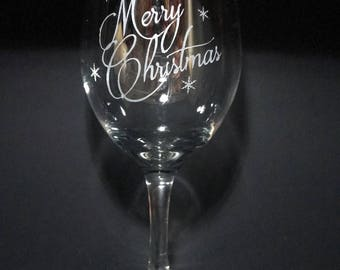 Hand Etched 14oz Stemmed Merry Christmas Wine Glass