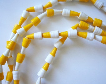 100 White and Yellow Cone Beads - Paper Beads - White Beads - 2 Tone Beads - Yellow Beads - Jewellery Making - Bright Beads - Small Beads