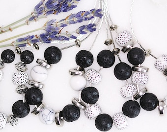 Lava Bead Aromatherapy Necklace - Essential Oil Diffuser Necklace - Perfume Jewellery - Lava Stone Necklace - Natural Healing Lava Rocks