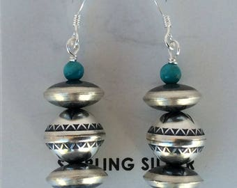 Native American Navajo Tuquoise Sterling Silver Dangle Earrings