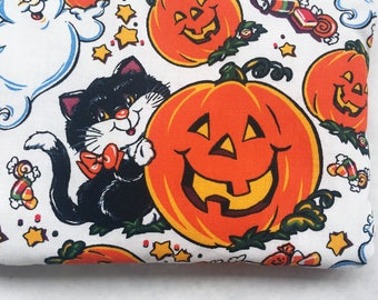 Retro Halloween Black Cat, Ghost, & Jack O' Lantern Zipper Pouch with White Satin Lining