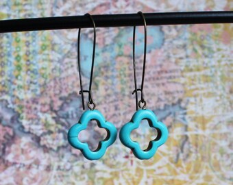 Turquoise Cross Earrings, Geometric shaped howlite stone.  Antique Brass Kidney Wires, 19mm x 20mm