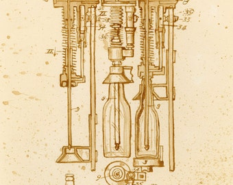 beer art, 1909 Beer Bottling Machine Patent, painted using beer, technical, patent drawing, scientific, historical, bottle