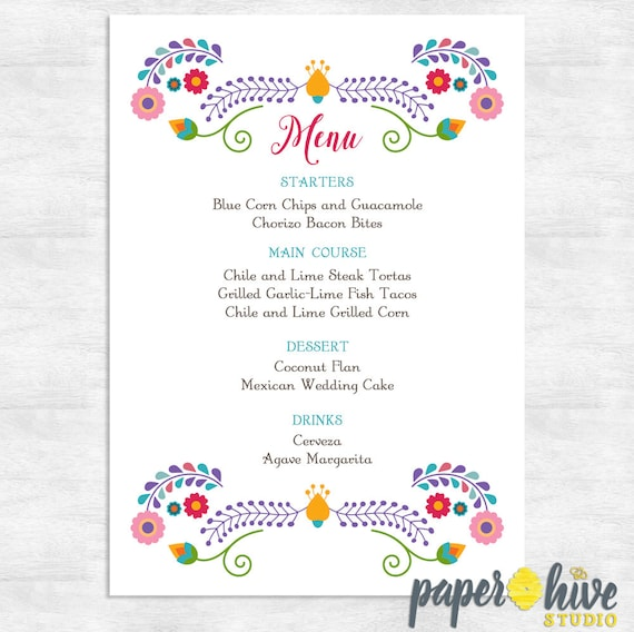 Fiesta Menu / Wedding Menu / Baby Shower Menu / Bridal Shower
