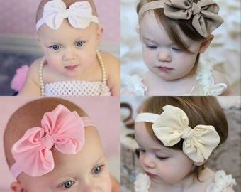 U CHOOSE 4 Chiffon Bows Pack, set of 4 hairbows 4 baby, toddler girls. fabric knot tie headband