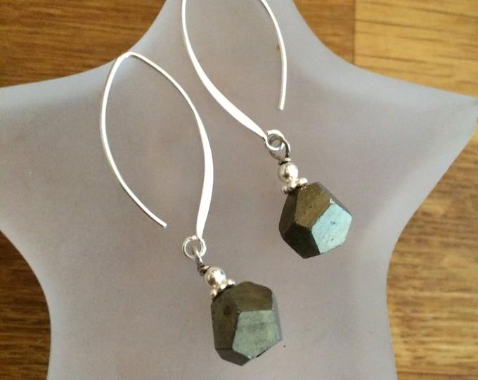 Raw Pyrite earrings on long Sterling Silver hooks