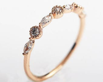 Laced Rose Gold Wedding Band with Marquise & Round stones
