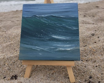 Turquoise Splash - Small Ocean Wave Oil Painting on Canvas with Mini Easel from Florida