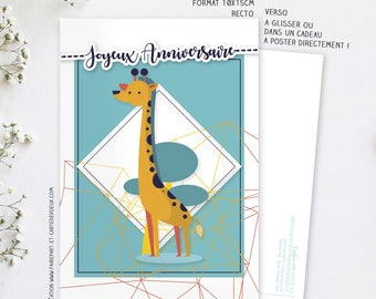Giraffe birthday card - postcard illustration - card happy birthday child and adult