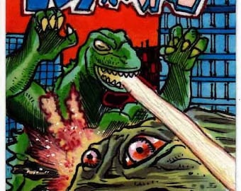 "Japanese Godzilla vs Hedorah ""After G-Manga"" Cover Recreation Personal Sketch Card Unique Gift Item Giant Creatures Battle"