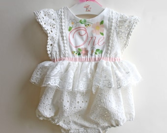 RESERVED for REBECCA 1st birthday keepsake romper, ready to ship 9-12 Months