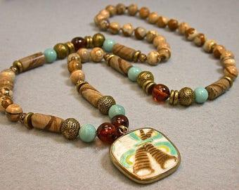 Antique Chinese Shard Pendant Knotted Bead Necklace,Vintage Picture Jasper,Vintage Amber Beads,Vintage Amazonite ,Vintage Brass Tea Strainer