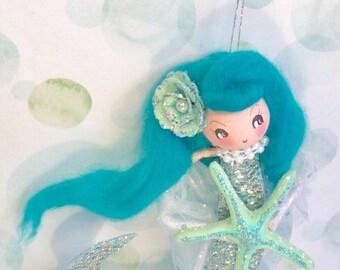 Mermaid doll mermaid ornament vintage atomic retro inspired mermaid party decor art doll starfish beach coastal nautical