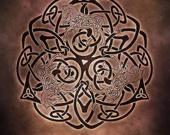 Enchanting Equine Celtic Horse Triskele Knotwork -  Pagan Wiccan Print - Brigid Ashwood
