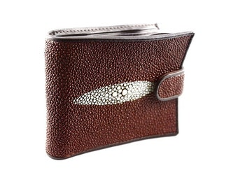 Portefeuille wally galuchat/cuir MARRON
