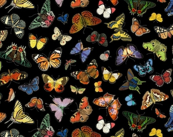 Butterfly Garden - Black (ELS4903-BLA) by Elizabeth's Studio Cotton Fabric Yardage