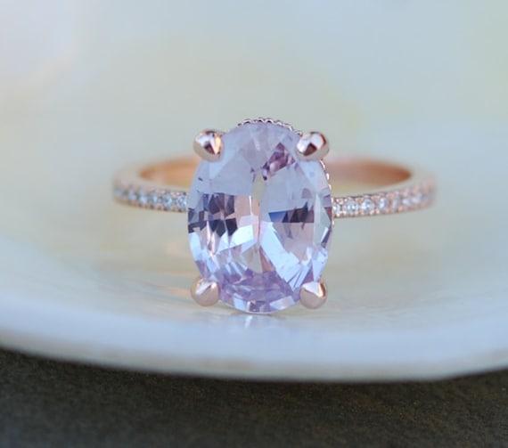 Blake Lively ring White Sapphire Engagement Ring oval cut 14k rose gold diamond ring 3.29ct white sapphire ring