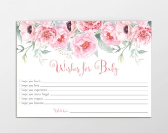 Wishes for Baby, Baby Shower Game, Printable Game, Wishes for Baby Card, Well Wishes for Baby, Baby Wishes, INSTANT DOWNLOAD, Pink Floral,