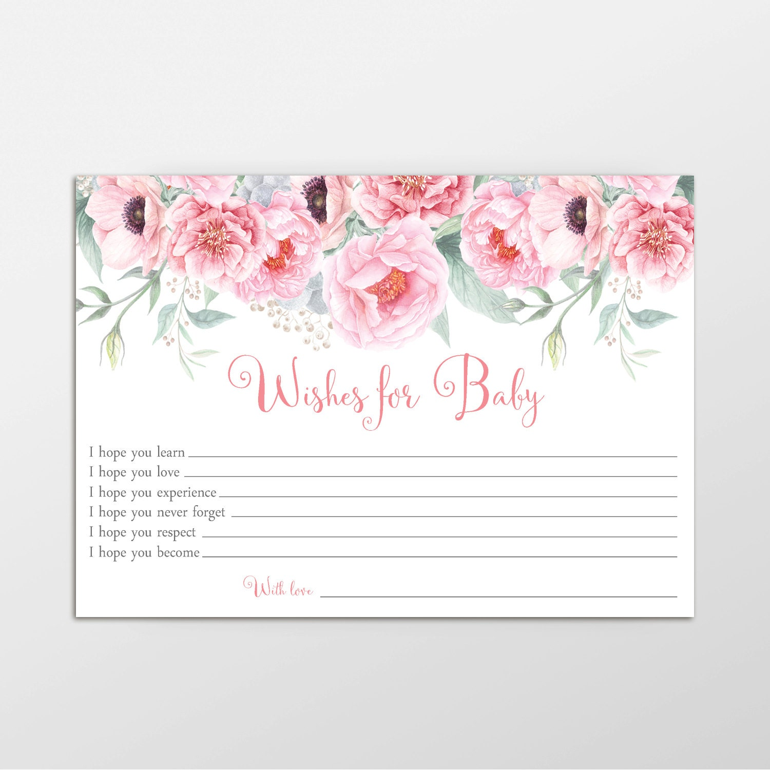 Wishes for baby baby shower game printable game wishes for baby wishes for baby baby shower game printable game wishes for baby card well wishes for baby baby wishes instant download pink floral kristyandbryce Image collections